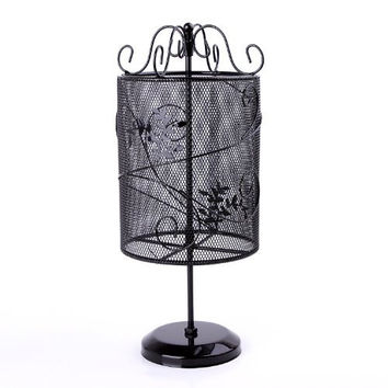 Beautiful Vintage Style Black Metal Wire Mesh Cylinder Floral Design Earring Holder Hanger Jewelry Organizer