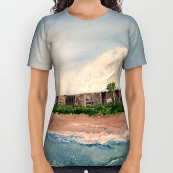 Cocoa Beach  Oil on canvas All Over Print Shirt by Annette Forlenza