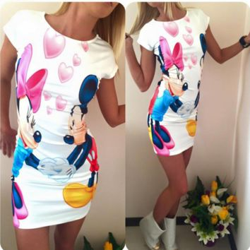 Unique Digital printing Mickey Mouse Slim Package Hip Thin Dress
