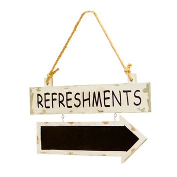 REFRESHMENTS - Wooden Sign with Attached Chalkboard Arrow