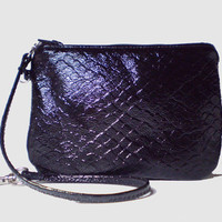 Black Leather Wristlet - Free Shipping in US