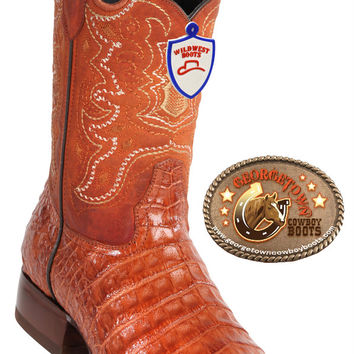 Wild West Boots Mens Caiman Belly Square-Toe Cowboy Western Boots Cognac