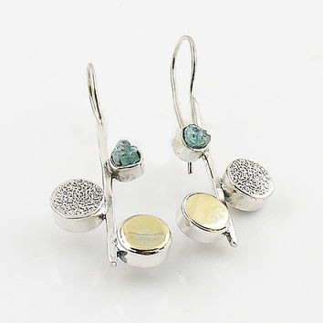 Aquamarine Rough Two Tone Solid Sterling Earrings