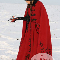 "Medieval Fantasy Wool Coat ""Queen Of Shamakhan"""