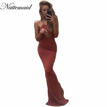 Maxi Long Bodycon Dress Cocktail Party Mermaid Wrap Ankle Length Solids strap