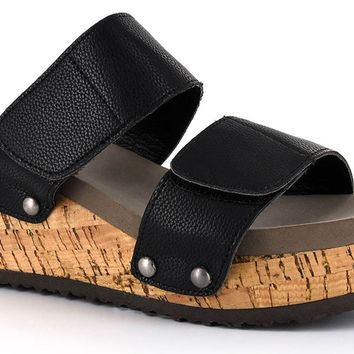 Corkys New-Way Black Wedge Sandals