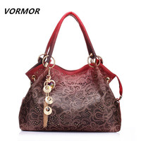 Hollow Out Large Leather Tote Bag Luxury Women Shoulder bags, Handbag Bolsa