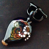 Glass Owl Pipe with Rainbow Reversal