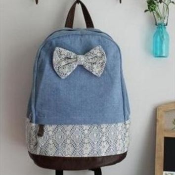 Denim Lace Backpack With BowKnot from Bblythe