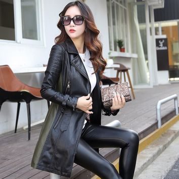 New arrivals long sleeve patchwork pu leather basic jackets sashes zippers fashion women trench coat faux leather jackets