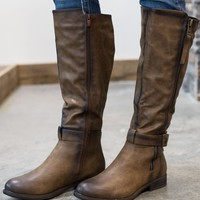 Double Strapped Riding Boot - Brown