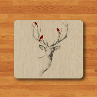 Wild Animal Red Bird On Deer Head Wood Mouse Pad Black Drawing Cute Deer Wooden Desk Deco Rubber Computer Work Pad Personal Unique MousePad