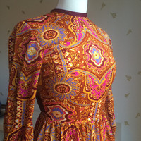 1970's Indian Print Dress / Long Sleeved / Fringe Waist / Brightly Coloured / XS / Vintage 70s