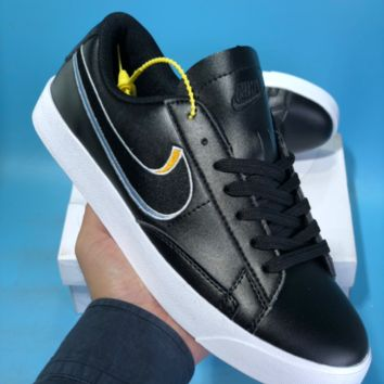 HCXX N569 Nike Wmns Tennis Classic Embroidery Two Logo Skateboard Shoes Black