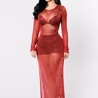 Glisten Closely Dress - Red