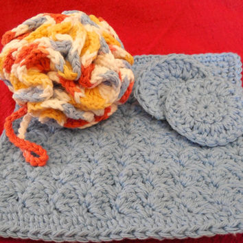 Cotton Spa Bath Gift Set -Bath Puff, Washcloth, Facial Rounds - Coral Red, Yellow, Light Blue, & White - handcrafted crochet - Ready to Ship