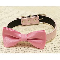 Pink Dog Bow Tie attached to collar, wedding accessory, pink wedding