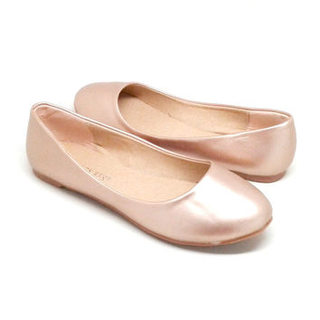 Gold Color Vegan Leather Flats