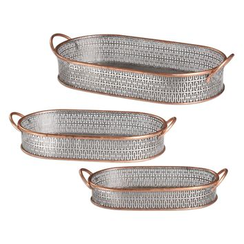 Fabiana Antiqued Silver Trays - Set of 3 by Uttermost