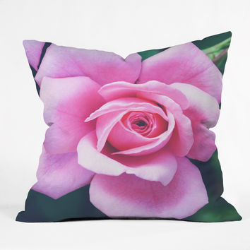 Allyson Johnson Darling Pink Rose Outdoor Throw Pillow