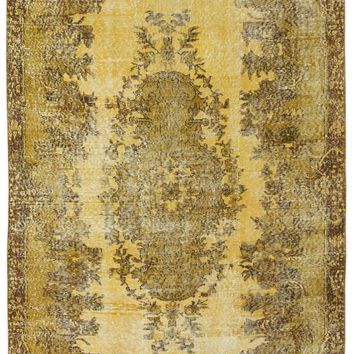 YELLOW OVERDYED VINTAGE RUG 5'3'' X 9'6'' FT 160 X 290 CM