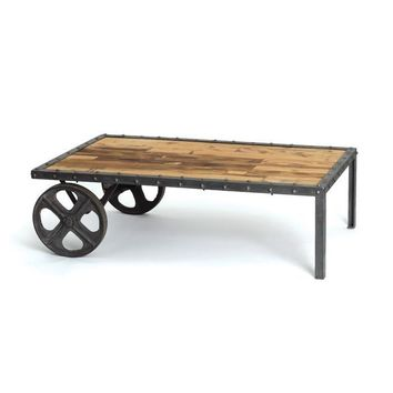 Industrial Cart Coffee Table in Steel and Reclaimed Wood