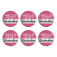 Shandra Hello My Name Is Plastic Resin Button Set of 6