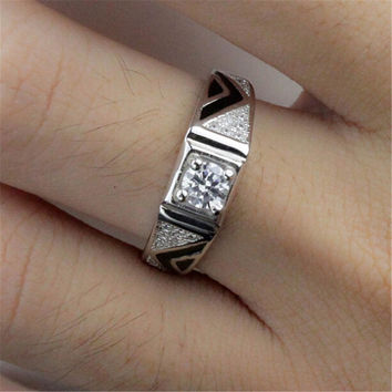 Mens Womens Unique Silver Adjustment Ring with Diamond Fashion Casual Jewelry Best Gift Rings-069