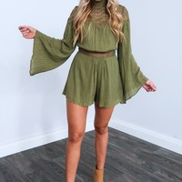 Not Over You Romper: Olive
