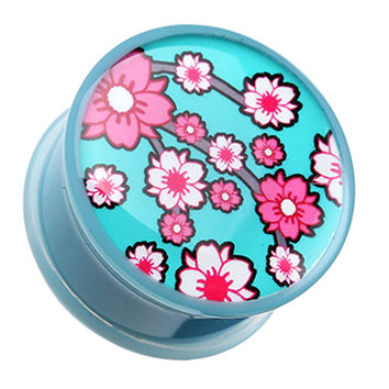 Adorable Sakura Cherry Blossom Single Flared Ear Gauge Plug