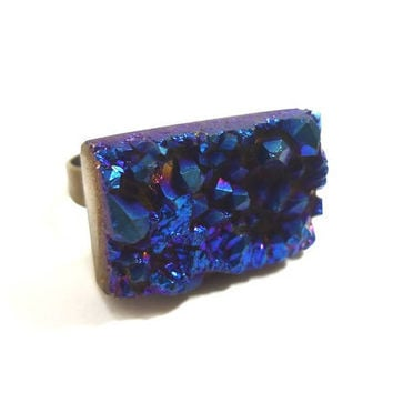 Druzy Titanium Quartz Cobalt Blue Ring by AstralEYE on Etsy