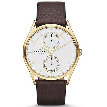 Skagen Mens Holst Day/Date Watch - Gold-Tone Case - Brown Leather Strap