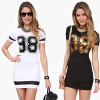 Fashion Number 98 Printed New Summer Lace Dress Casual Dress Vestidos Short Sleeves Sexy Mini Bandage Women Dresses = 5738790913