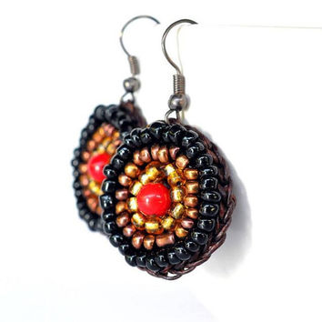 Circle Stone Red Coral and Seed Beads Earring Handmade by Flower GemStone (92.5 Silver or Nickel Rhodium Variations)
