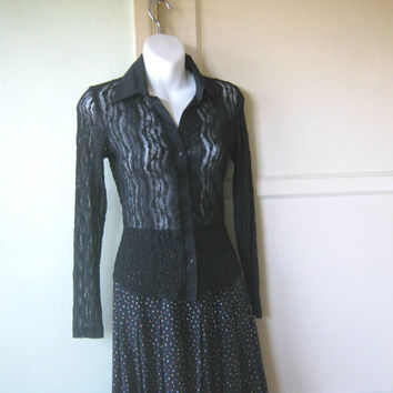 Semi-Sheer, Lacy Black Shirt - Sexy Black Date Night/Party Top - Form-Fitting Button Up Black Blouse; XS-Small - Retro Black Club Top