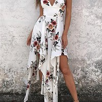 Women's High Low Floral Dress with Vee Neckline