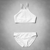 white two-piece scuba swimsuit