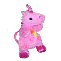 Vintage UNICORN Animal Backpack PINK Adjustable Straps Fits Adults Zip up Club Kid Hipster Seapunk Raver Soft Grunge Festival Fantasy Rare
