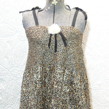 Upcycled Recycled Gypsy Top /  S-L  Boho Cheetah Print  Repurposed Clothing / Eco Friendly Boho Tank Top / Tattered FX