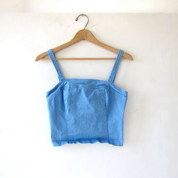 STOREWIDE SALE...90s blue tank top. Cropped belly tank top.