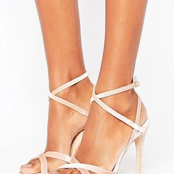River Island Velvet Barely There Heels at asos.com