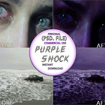 "Photoshop PSD Coloring File Instant Download Photo Effects ""PURPLE SHOCK"" 90s Grunge Dark Club Kid Gritty Fantasy Evil Suspense Horror"