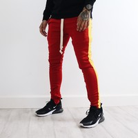 Amari Track Pants (Burgundy/Yellow)