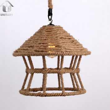Rustic Braided Hemp Rope House Shape Hanging Ceiling Pendant Light with 1 Light
