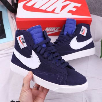 Nike Blazer Mid Rebel Fashion Casual High Tops Zipper Sport Shoes Sneakers Blue