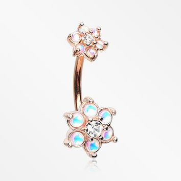 Rose Gold Iridescent Revo Spring Flower Sparkle Belly Button Ring