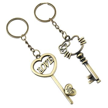 Sporty Lovely LOVE Key Keychains Vintage Bronze Alloy Jewellery Mouse Bag Charm Love you Cat Keychains Bag Key Accessories