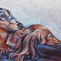 """10"""" x 20"""" Custom Pet Portrait Painting in Acrylic on ready to hang gallery Canvas of Two Dogs, Cats, Horses. Dog Lover Gift or Pet Memorial"""