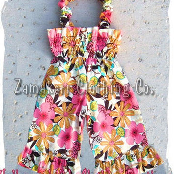 Custom Boutique Girl Cute Clothing Flower Floral Charm Smocked Jumper Romper Pant Outfit Set 3 6 9 12 18 24 month 2T 2 3T 3 4T 4 5T 5 6 7 8