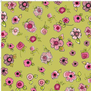 Parlor Posies Green Fabric